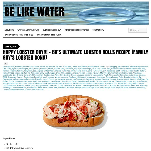 Happy Lobster Day!!! Check out the Lobster Roll Recipe @ http://belikewaterproduction.com/2015/06/15/happy-lobster-day-bas-ultimate-lobster-rolls-recipe-family-guys-lobster-song/ #Lobster #Food #Foodporn #Health #Lifestyle #Fitness #Recipe #Cooking #Chef #Seafood #BeLikeWater #News #Delicious #Yummy #Tasty #Eat #Eating #Sandwiches